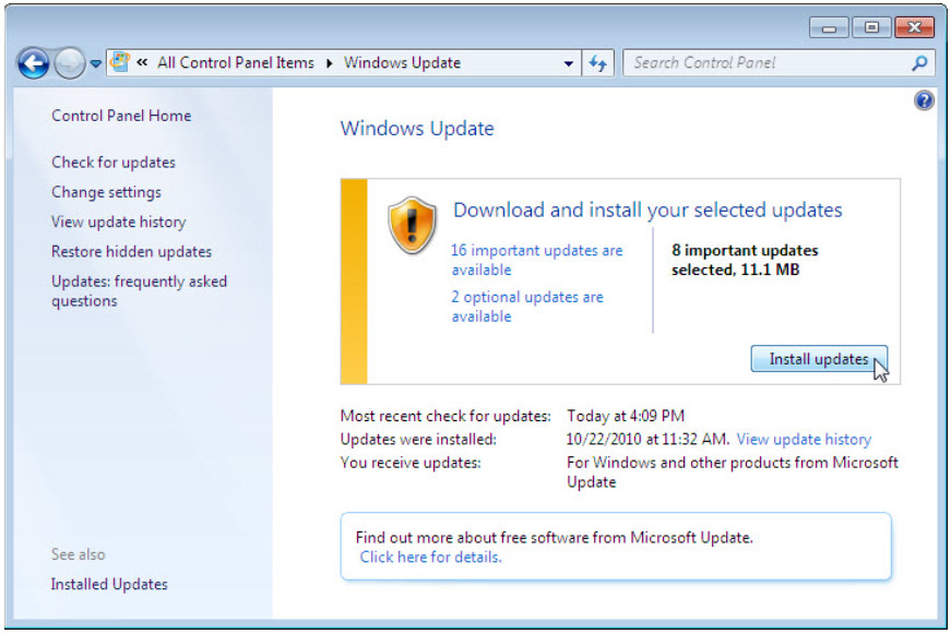 5.2.1.10 Lab - Check for Updates in Windows 7 and Vista (Answers) 12