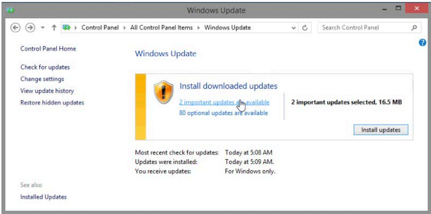 5.2.1.10 Lab - Check for Updates in Windows 8 (Answers) 10