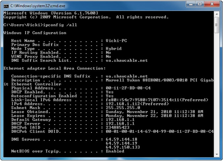 7.4.1.11 Lab - Configure a NIC to Use DHCP in Windows (Answers) 13