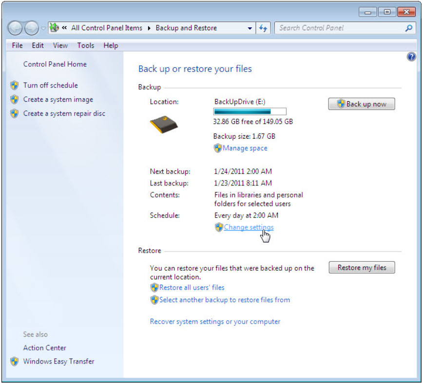 12.3.1.3 Lab - Configure Data Backup and Recovery in Windows 7 and Vista (Answers) 41