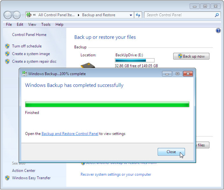 12.3.1.3 Lab - Configure Data Backup and Recovery in Windows 7 and Vista (Answers) 50
