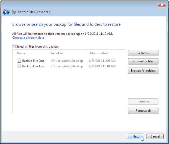 12.3.1.3 Lab - Configure Data Backup and Recovery in Windows 7 and Vista (Answers) 55
