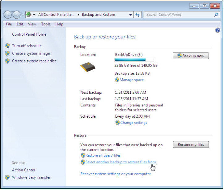 12.3.1.3 Lab - Configure Data Backup and Recovery in Windows 7 and Vista (Answers) 58