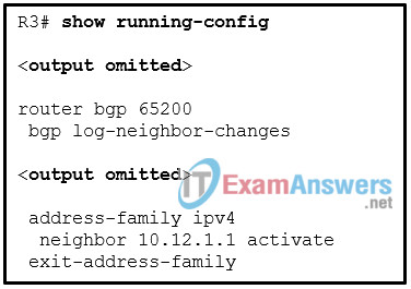 Refer to the exhibit. A network administrator is configuring BGP on a router. What network layer protocol and function are enabled for the BGP session? 2