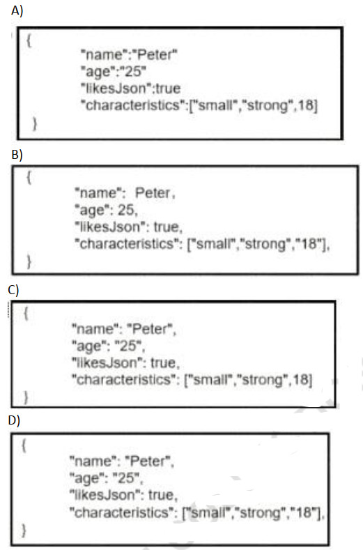 Which data is properly formatted with JSON? 2