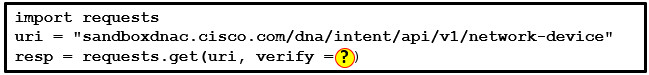 Refer to the exhibit. Which parameter is needed in the Python code (in place of the question mark) to test for an invalid URI condition? 2