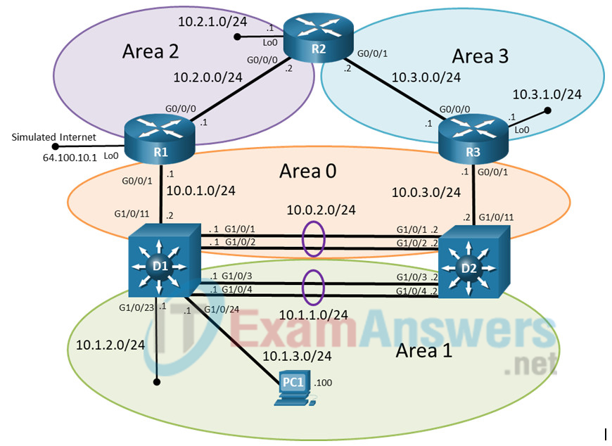 8.1.2 Lab - Troubleshoot OSPFv2 (Answers) 4