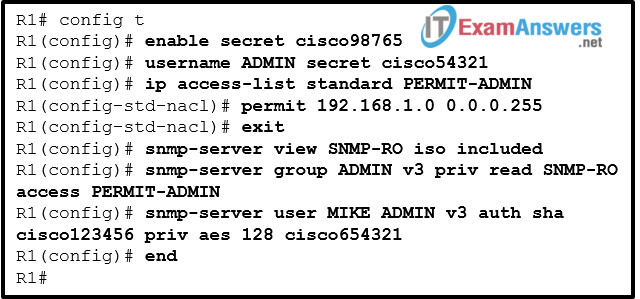 Refer to the exhibit. Which SNMP authentication password must be used by the member of the ADMIN group that is configured on router R1? 2