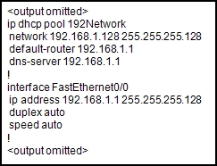 """Refer to the exhibit. A host connected to Fa0/0 is unable to acquire an IP address from this DHCP server. The output of the debug ip dhcp server command shows """"DHCPD: there is no address pool for 192.168.1.1"""". What is the problem? 2"""