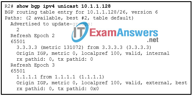 CCNP ENARSI v8 Final Exam Answers Full - Advanced Routing 30
