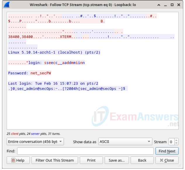 16.3.12 Lab - Examining Telnet and SSH in Wireshark Answers 5