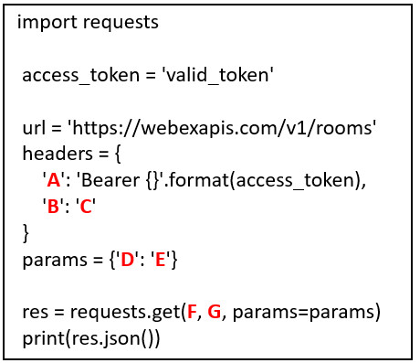 Refer to the exhibit. Match the Python coding components to the location. (Not all options are used.) 2